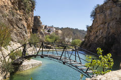 Hanging bridge on Lake Bolbaite, Valencia, Spain Royalty Free Stock Photo