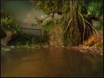 Hanging bridge over a muddy river Stock Photos