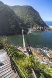 Hanging bridge over Storms River mouth, Tsitsikamma National Park Stock Photos