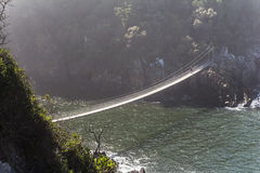 Hanging bridge over Storms River mouth, Tsitsikamma National Park Royalty Free Stock Image