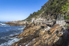 Hanging bridge over Storms River mouth, Tsitsikamma National Park Stock Image