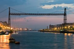 Hanging bridge between Portugalete and Getxo Stock Images