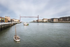 Hanging bridge in Portugalete and Getxo, Bizkaia, Spain. Stock Photography