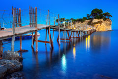 Hanging bridge to the island Stock Photo