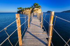Hanging bridge to the island Stock Images