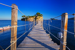 Hanging bridge to the island Royalty Free Stock Image