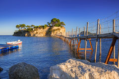 Hanging bridge to the island, Zakhynthos Stock Photography
