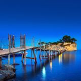 Hanging bridge to the island at Zakhynthos. Greece Stock Images