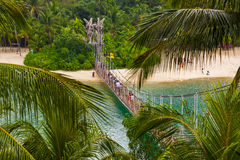Hanging bridge to Palawan island in Sentosa Singapore Stock Photos