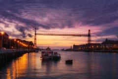 Hanging bridge of Vizcaya at night Royalty Free Stock Photos