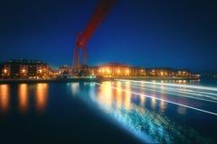 Hanging bridge of Vizcaya at night. With long exposure stock photography