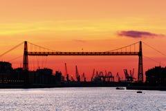 Hanging Bridge of Vizcaya at sunset Stock Photo