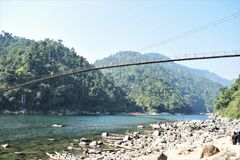 The hanging bridges at shnongpdeng,India stock images