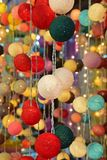 Hanging bright vivid colorful fabric ball LED string lights