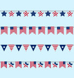 Hanging Bunting pennants for Independence Day USA Stock Photography