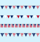 Hanging Bunting pennants for Independence Day USA Stock Photos