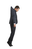 Hanging businessman looking down Royalty Free Stock Images