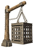 Hanging cage. 3D render of a medieval hanging cage royalty free illustration
