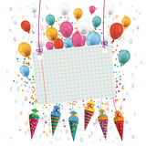 Hanging Candy Cones Checked Banner Balloons Letters. Candy cones with paper banner, letters and balloons on the white background royalty free illustration