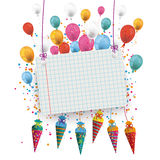 Hanging Candy Cones Checked Banner Balloons. Candy cones with paper banner and balloons on the white background royalty free illustration
