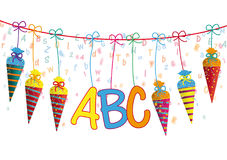 Hanging Candy Cones Line ABC Letters Header Stock Images