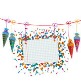 Hanging Candy Cones Line Checked Banner Confetti Royalty Free Stock Photography