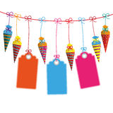 Hanging Candy Cones Line Price Stickers Royalty Free Stock Images
