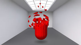 Hanging capsule of many small polygons in large empty room. The exhibition space is an abstract object, spherical shape Royalty Free Stock Image