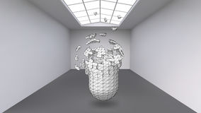 Hanging capsule of many small polygons in large empty room. The exhibition space is an abstract object, spherical shape Stock Image