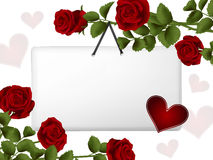 Hanging card surrounded by roses Royalty Free Stock Image