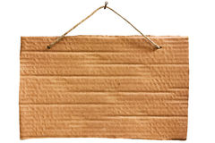 Hanging cardboard sheet - clipping path Stock Photo