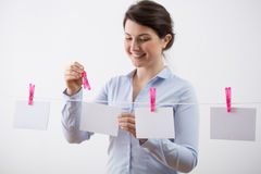 Hanging the cards Stock Photography