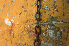 Hanging chain on an old battered boat.  Royalty Free Stock Images