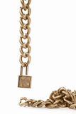 Hanging chain and padlock Royalty Free Stock Photography