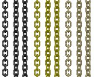 Hanging chains. 3D illustration of chains at different angles and colors vector illustration