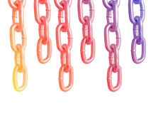 Hanging chains, isolated on white background. Stock Image