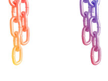 Hanging chains, isolated on white background. Hanging chains, isolated on white background Royalty Free Stock Photo