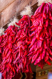 Hanging chili ristras Stock Images