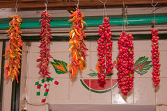 Hanging Chilli Peppers. Rows of red chilli peppers hanging on a market stall Royalty Free Stock Photography