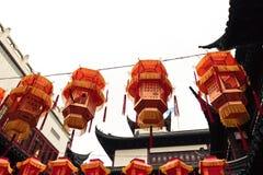 Hanging Chinese lanterns Royalty Free Stock Images