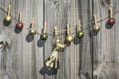 Hanging Christmas Angel and Balls Fence Stock Photo