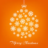 Hanging christmas ball from white snowflakes. On orange. Vector illustration vector illustration