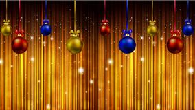 Hanging Christmas balls against the backdrop of shining stars. Vector art illustration Stock Photo