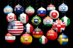 Hanging Christmas balls with country flags. New Year and Merry X. Mas concept, 3D rendering on black background royalty free illustration