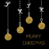 Hanging christmas balls. Dash line with bows. Gold glitter. Merry Christmas greeting card. Black background. Stock Photography