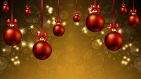 Hanging Christmas balls and festive background with highlights a. Nd bokeh, vector art illustration Royalty Free Stock Photo