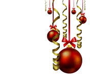 Hanging Christmas balls with festive ribbons Stock Photos