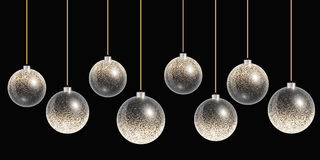 Hanging christmas balls with gold decoration on a background Stock Photography
