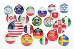Hanging Christmas balls with hanging country flags. New Year and. Merry Xmas concept, 3D rendering on white background stock illustration