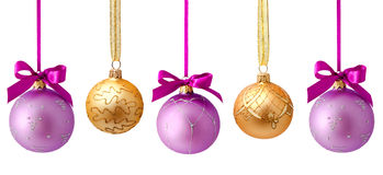 Hanging christmas balls isolated Royalty Free Stock Images